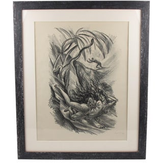 1919 Adolf Uzarski Charcoal Drawing Lithograph For Sale
