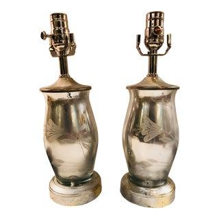 Vintage Mercury Glass Lamps - a Pair For Sale