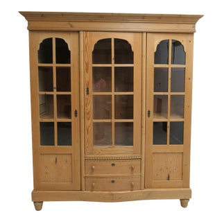 19th Century Country Knotty Pine China Cabinet Hutch