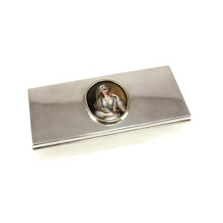 Tiffany & Co. Sterling Silver Box With Porcelain Portrait Plaque