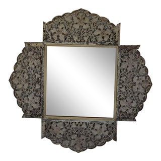 Indian White Wall Mirror For Sale