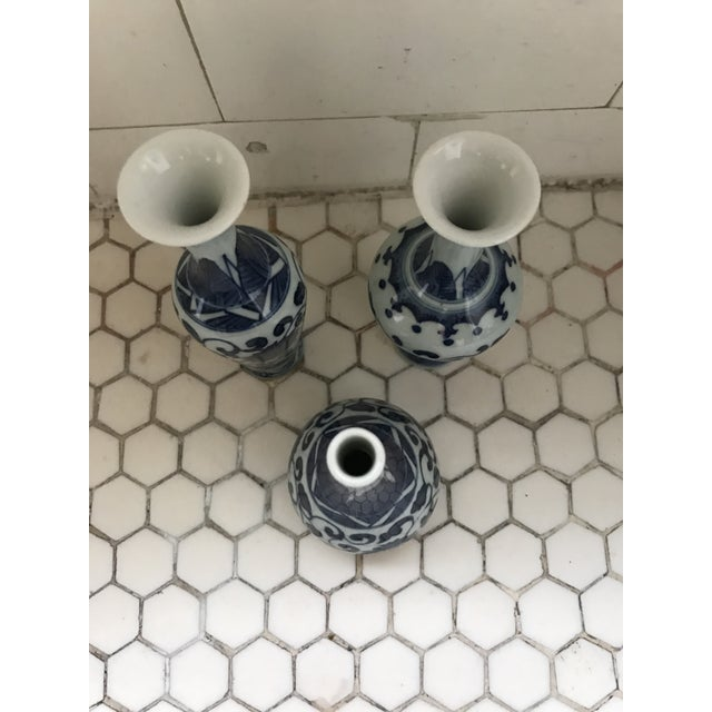 Ceramic Blue & White Porcelain Vases - Set of 3 For Sale - Image 7 of 9