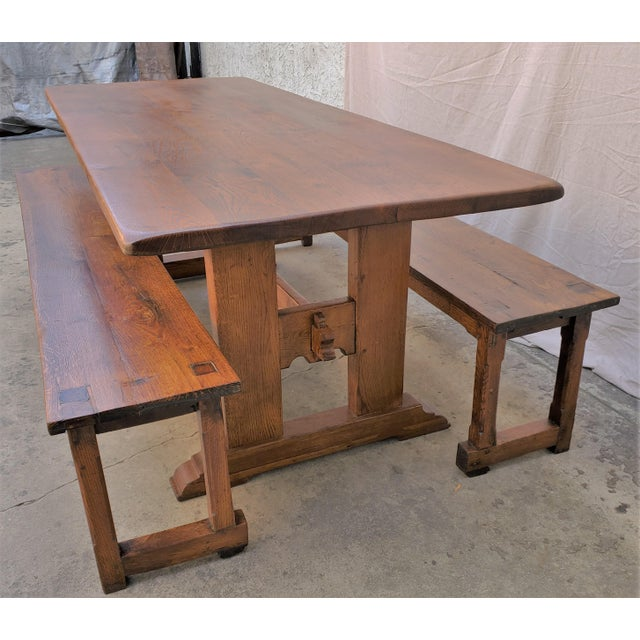 Antique Plank Solid Oak Refectory Dining Table With a Pair of Monastery Benches - 3 Pieces For Sale - Image 13 of 13