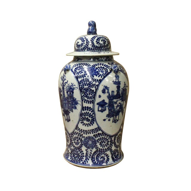 Chinese Blue & White Flowers Theme Porcelain Large General Jar - Image 3 of 7