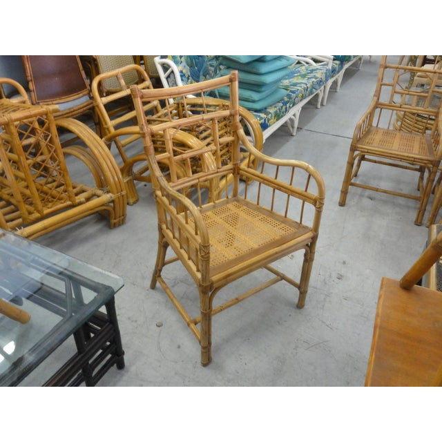Wood Vintage Geometric Bamboo & Cane Dining Chairs - Set of 8 For Sale - Image 7 of 12