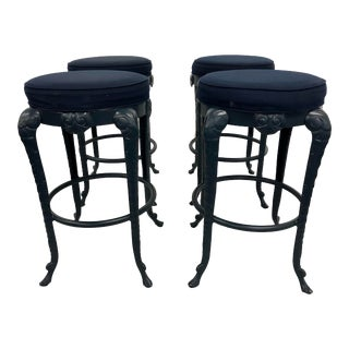 Vintage Grotto Style Aluminum Barstools - Set of 4 For Sale
