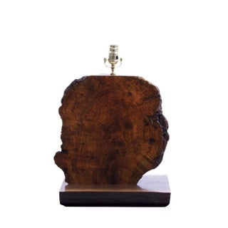 Maple Burl Wood Table Lamp With Live Edge For Sale