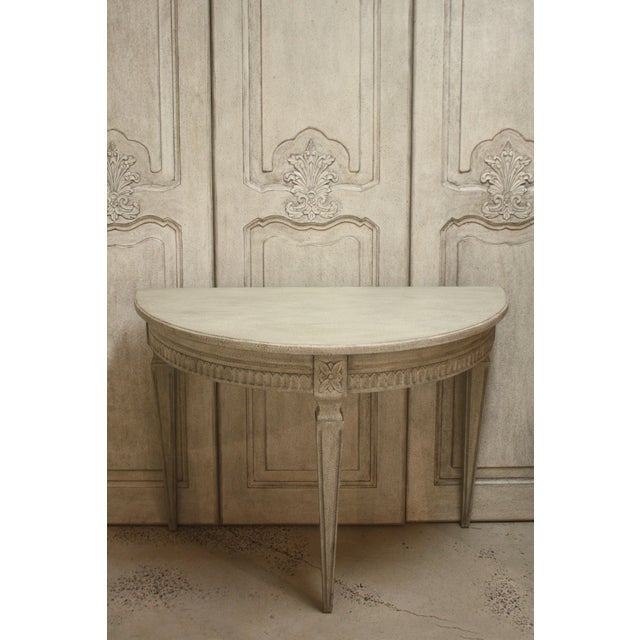 Gustavian (Swedish) Swedish Gustavian Demilune Dining or Console Table For Sale - Image 3 of 4