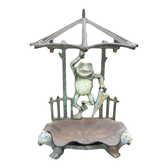 French Art Nouveau Wrought Iron Umbrella Stand For Sale