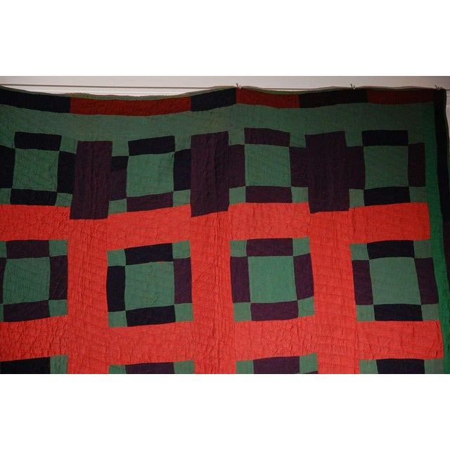 Early 20thc Amish Nine Patch Wool Quilt From Pennsylvania - Image 9 of 9