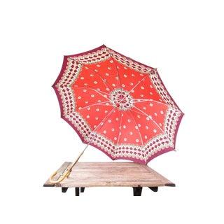 Vintage Mid Century Red Umbrella For Sale