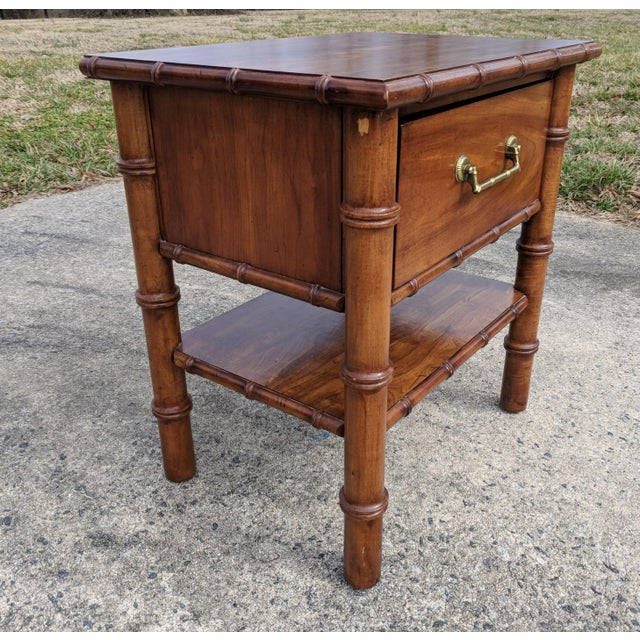 Hollywood Regency Vintage Drexel Faux Bamboo Wooden Nightstand For Sale - Image 3 of 12