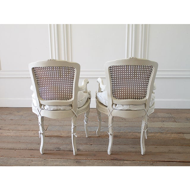 20th Century Vintage Painted Cane Back Open Arm Chairs- A Pair For Sale - Image 12 of 13