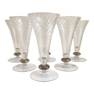 1930s Art Deco Crystal Trumpet Shaped Glassware - Set of 6 For Sale