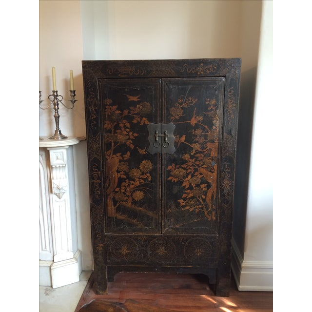 Chinese Black & Gilt Lacquered Armoire - Image 2 of 3