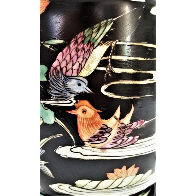 1950s Vintage Chinese Porcelain Famille Noire Lamp For Sale - Image 5 of 12