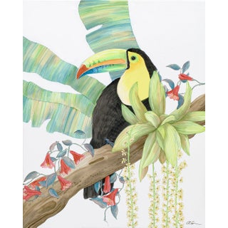 """Toucan Play at That Game"" Tropical Bird Painting in the Chinoiserie Style For Sale"