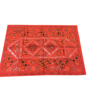 Indian Vintage Red Sari Tapestry With Miror Patchwork Wall Hanging Throw For Sale