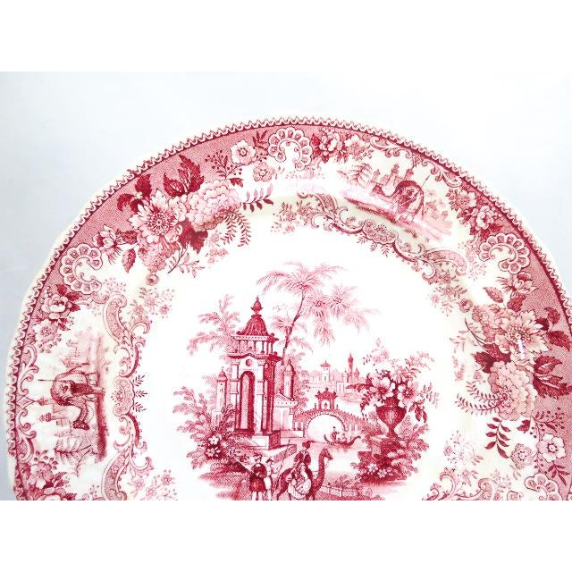 1830s F. Dillon China Red & White Transfer Plate For Sale - Image 4 of 10