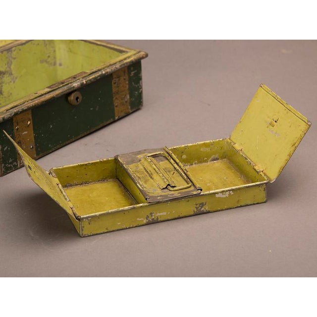 """Gold Street Vendor's """"Cash"""" Hinged Metal Box, Painted Finish, England c. 1890 For Sale - Image 8 of 8"""