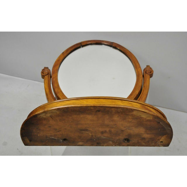 Antique Cheval Style Walnut Oval Mirror Lift Top Shaving Vanity Mirror For Sale - Image 10 of 12