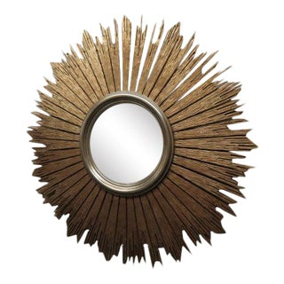 Friedman Brothers #7311 Sunburst Gold & Silver Convex Mirror For Sale