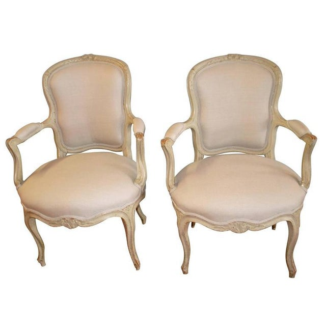 White Louis XV Style Painted Armchairs - A Pair For Sale - Image 8 of 8