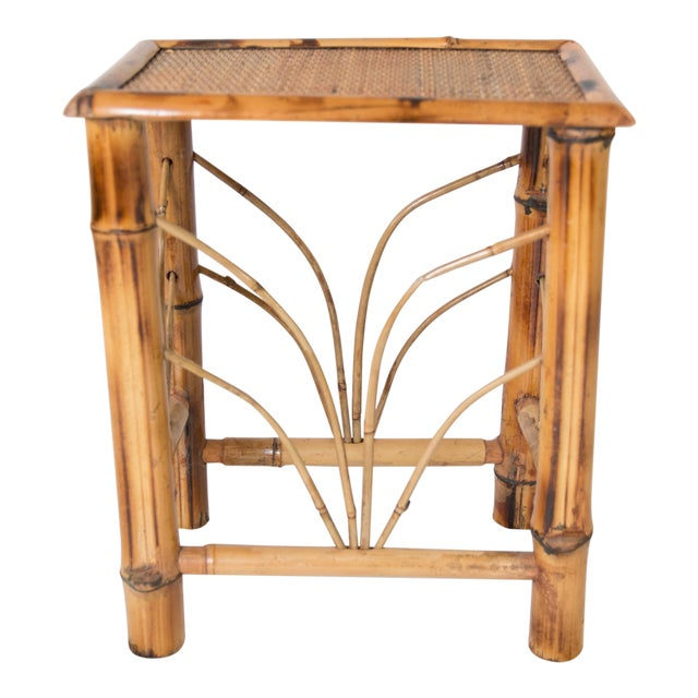 Vintage Chinoiserie Bamboo Side Table For Sale
