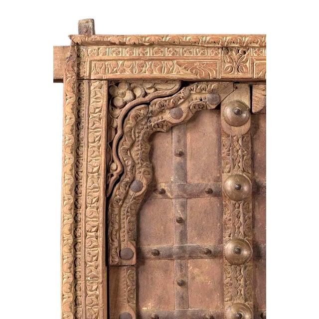 Rustic Antique Hand Carved Arched Door With Iron Straps Brass Pins| Indian Carved Door| Old Door Repurposed Wall Art| Rustic Door| Spanish Door For Sale - Image 3 of 6