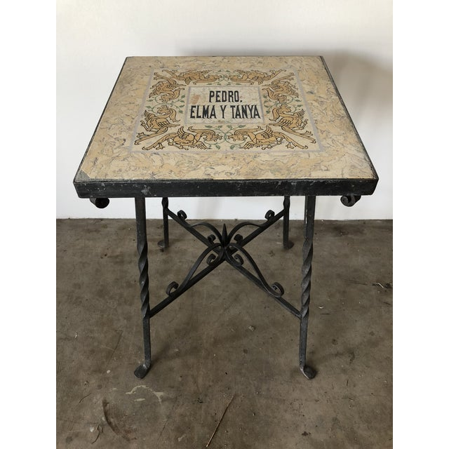 Ceramic Mediterranean Tile Top Wrought Iron Side Table For Sale - Image 7 of 7