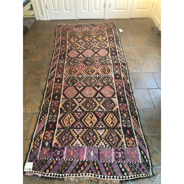 Antique Earth Tones Kilim Rug - 4′ × 9′ For Sale - Image 10 of 11