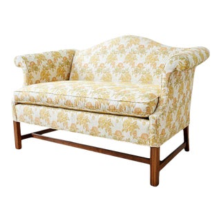 English Georgian Style Mahogany Camelback Settee Loveseat For Sale