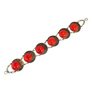 Art Deco Czech Red Art Glass Bracelet, 1920s For Sale
