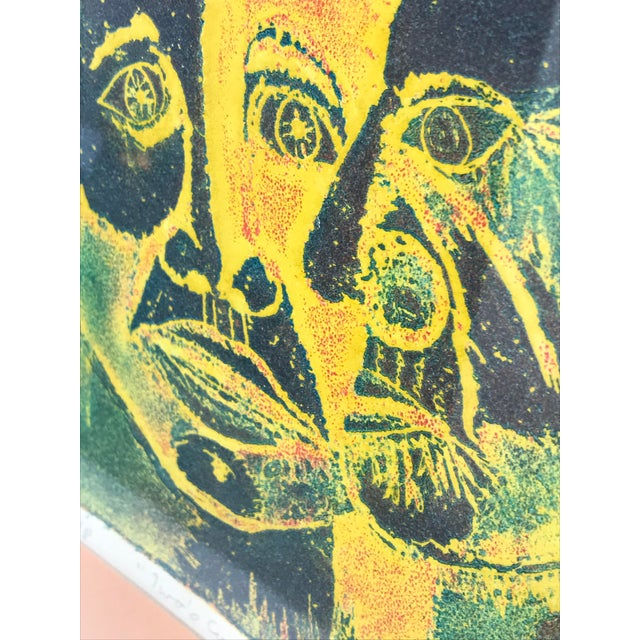 Vintage 1974 Framed A/P Relief Print Portrait by Ed Goldstein For Sale In Los Angeles - Image 6 of 12