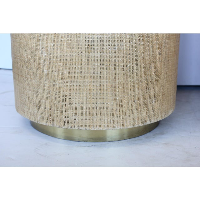 1980s Karl Springer Style Modern Grasscloth and Brass Side Tables For Sale - Image 5 of 6