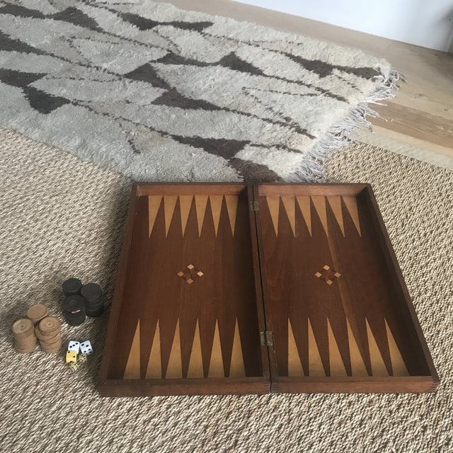 Beautiful very old handmade inlaid wood marquetry backgammon board game. Complete with old mismatched pieces and dice....