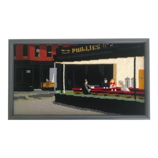 "Edward Hopper ""Nighthawks"" Framed Needlepoint Textile Art For Sale"