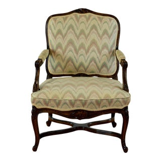French Style Green Wooden Armchair For Sale