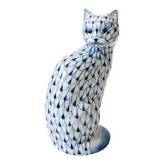Vintage Blue and White Ceramic Cat by Andrea by Sadek For Sale