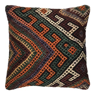 """Perfectly Patterned Vintage Kilim Pillow   20"""" For Sale"""