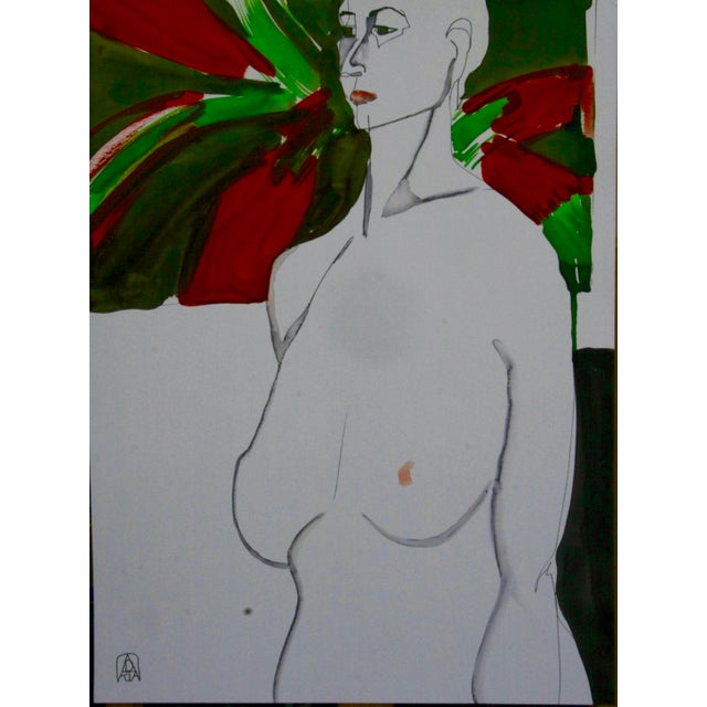 An original painting on heavyweight archival paper, of a model in the studio in front of one of my oil paintings. By...