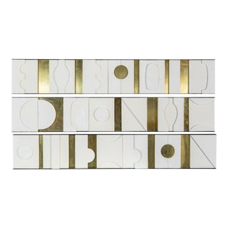 Art Wall Sculpture Modernist Frieze Panels Triptych by Paul Marra For Sale