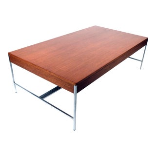 Architectural Steel and Mahogany Cocktail Table by George Nelson For Sale