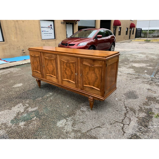 1940s French Solid Walnut Sideboard For Sale In Miami - Image 6 of 13