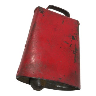 Antique Rustic Red Painted Cow Bell For Sale