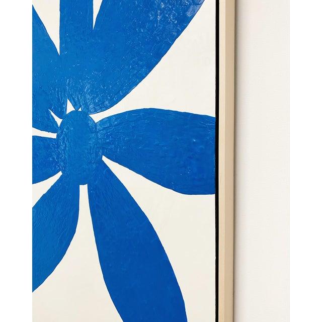 "John O'Hara Exclusive John O'Hara ""Big Blue Daisy"" Encaustic Paintings - 2 Panels For Sale - Image 4 of 9"