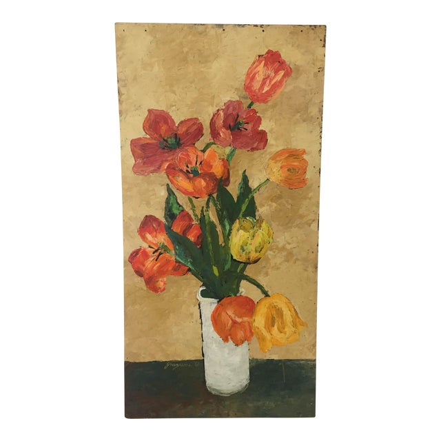 French Style Flower Vase Still Life Oil Painting Chairish