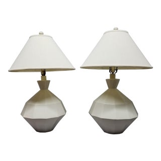 Italian Sculptural Cubist Shape White Ceramic Lamps -a Pair