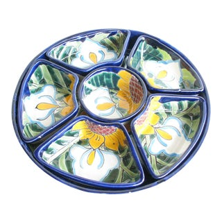 Vintage Talavera Mexico Pottery Serving Dishes & Platter - Set of 7 For Sale