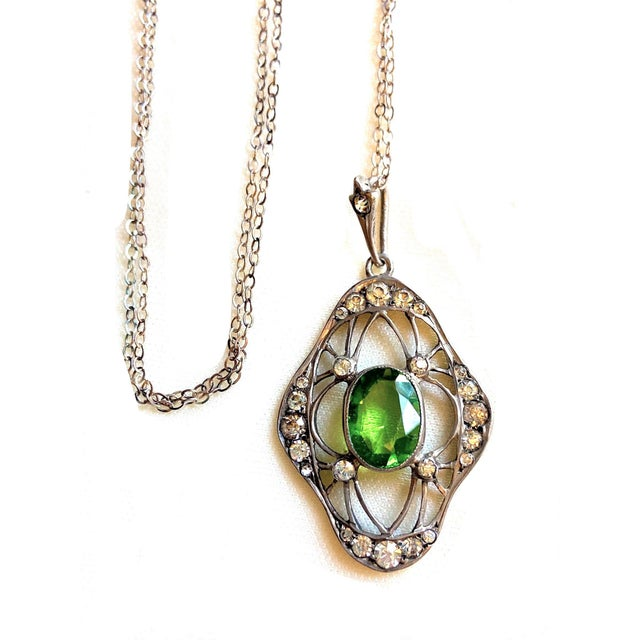 1910s Antique 800 Silver and Peridot Paste Lavaliere Pendant Necklace For Sale - Image 4 of 8